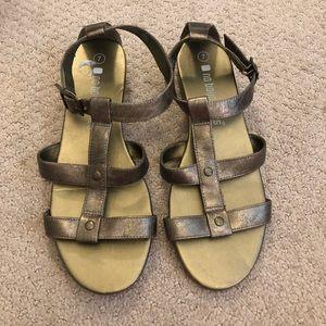 No Boundaries golden bronze wedge sandal